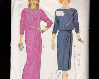 Vintage 1980s Butterick  6946 Drop Shoulder Pullover Blouse with Straight Mock Wrap Skirt Sizes 12 14 16