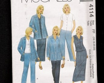 McCalls 4114 Jacket Pants Pencil Skirt and Tops  Sizes 16 to 22  UNCUT