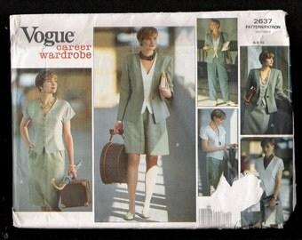 Vogue Pattern 2637 Career Wardrobe Princess Seam Jacket and Blouse Shorts Pants and Straight Skirt Sizes 6-8-10 UNCUT