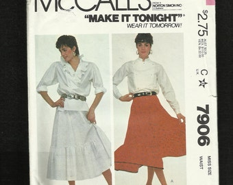 Vintage 1982 McCalls 7906 Western Four Gore Skirt with Ruffled Tier  Size 8 UNCUT