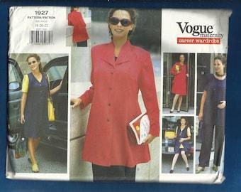 Vogue 1927 Maternity Wardrobe  Jumper Jacket Dress Tunic Skirt Pants and Shorts UNCUT Size 18 20 22
