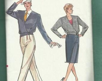 Vintage 1986 Vogue 9505 Pleated Pants & Skirt Jacket with Shoulder Pads  UNCUT Sizes 6 8 10