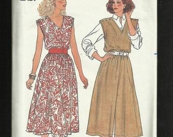 Vintage 1985 Butterick 3281  Sun Dress or Jumpsuit with V Neck & Button Shoulder Detail  UNCUT Sizes 8 10 12