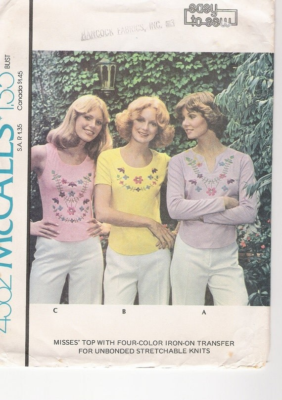 Vintage 1974 McCalls 4362 Long and Short Sleeve T Shirt and Tank Top with Iron On Transfer Sizes 18-20 UNCUT