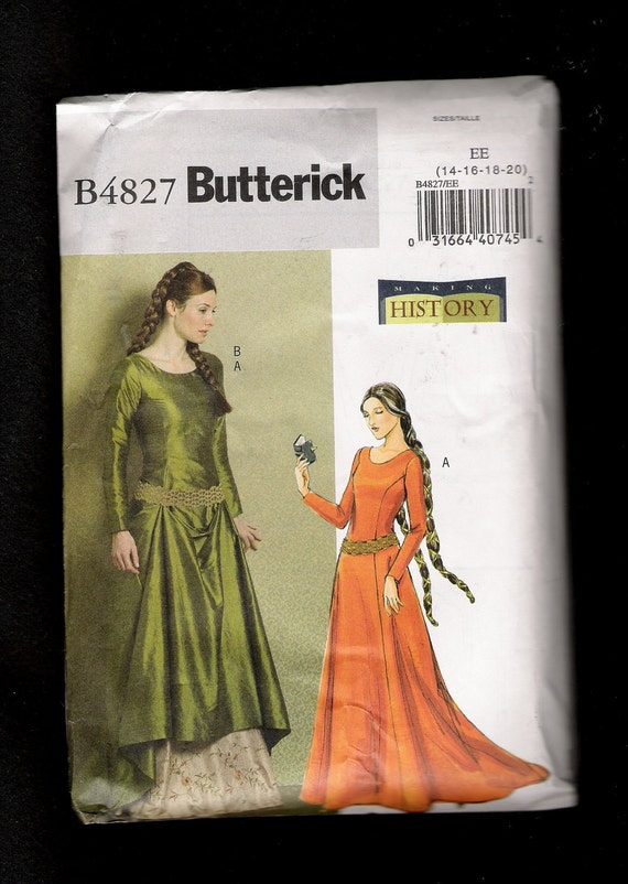 Butterick Pattern 4827 Medieval Inspired Dress with Contrasting Under Skirt and Slight Train Sizes 14 to 20 UNCUT