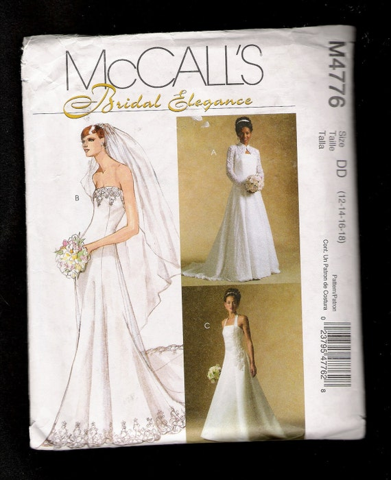 Mccalls pattern 4776 wedding dress with train and lace shrug for Wedding dress patterns mccalls