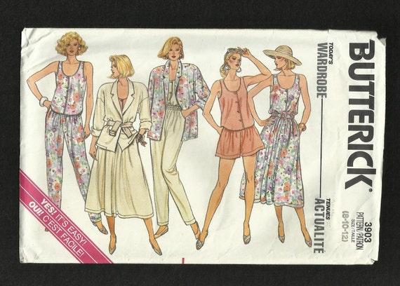 Vintage 1986 Butterick 3903 Summertime Wardrobe Jacket Skirt Pants Shorts and Tank Top  UNCUT Sizes 8 10 12