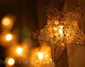 Wish Upon a Glowing, Gold Star, Celestial, Holiday, Christmas, Dreamy, Romantic, Love, Abstract, Night, Photograph, Home Decor