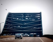 Piscataqua River Bridge, Portsmouth, New Hampshire, Kittery, Maine, Road, Highway, Car, Traffic, Travel Photograph, Home Decor, 10% off