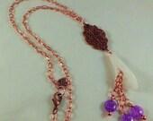 White Calla Lily flower pendant, purple crackle quartz, and copper necklace.