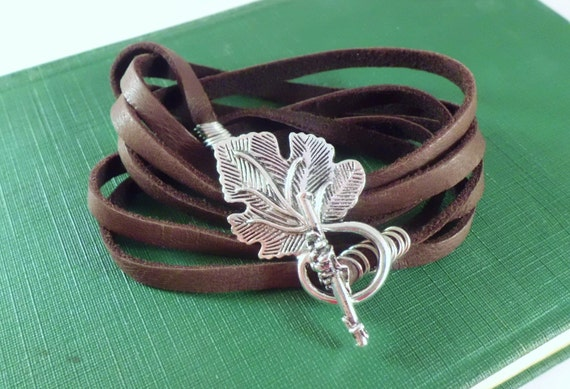 Leather multi wrapped with toggle closure bracelet-Custom made-wrist size and choice of colors/toggle needed.006