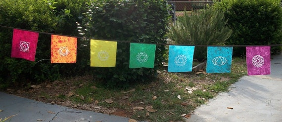 Rainbow Chakra Meditaion Yoga Batik Dyed Flags