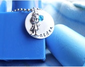 ON VACATION : Hand stamped - Personalize your child's name pendant
