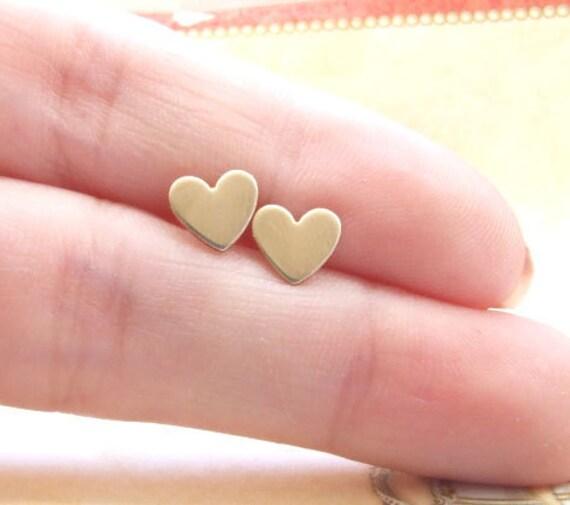 Tiny brass heart earrings