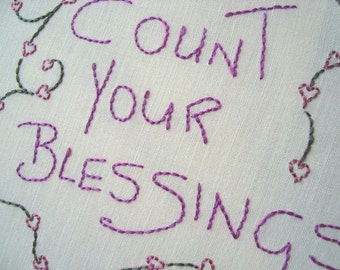 Count Your Blessings.. Hand Embroidery Pattern by PDF