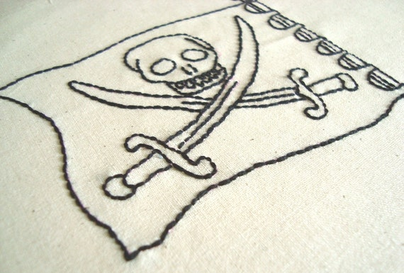 Pirate Flag Hand Embroidery Pattern by PDF