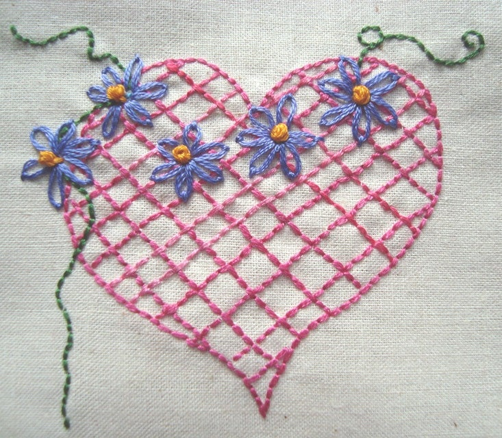 Hearts n flowers hand embroidery pattern by pdf