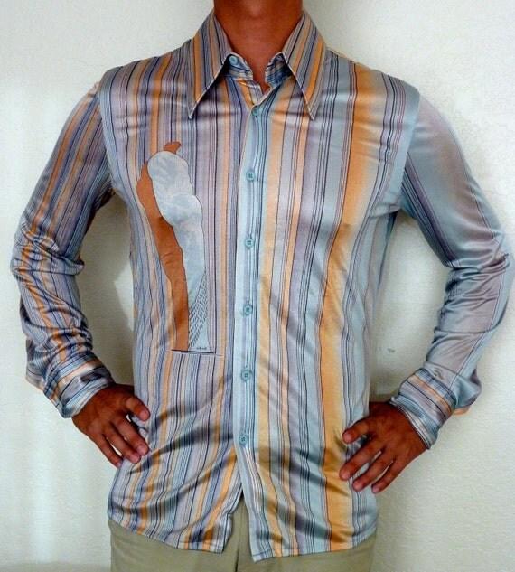 vintage 70 s s nik nik disco shirt blue