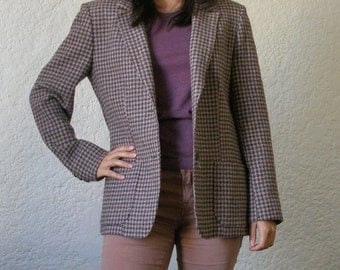 Pendleton Brown/Blue/Tan Houndstooth Wool Blazer Size S-M
