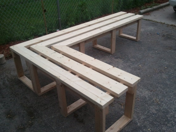 Items Similar To Patio Porch L Shaped Wood Bench On Etsy