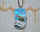 Sea Turtle on Wave Broken Vintage China Mosaic Soul Tag Necklace