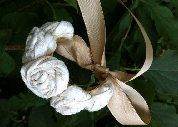 White Floral Print  Fabric Wrist Corsage with Gold Satin Tie Back Ribbon