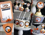 HALLOWEEN Printable Set - Little monsters - Invitation, Cupcake Toppers, Banner and more