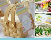 EASTER Favors Printable Set - Favor Tags, Straw Flags, Candy Bar Wrappers and more