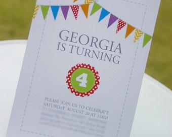 "RAINBOW Birthday Printable Invitation: Personalized - 7""x5"" - Print Your Own - DIY"