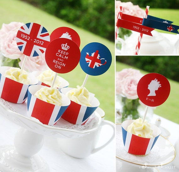 QUEEN Jubilee High Tea Printable Set - Cupcake Toppers, Cupcake Wrappers & Straw Flags
