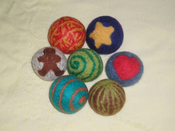 Wool RATTLE Balls- Custom design - Waldorf Inspired Educational Toy