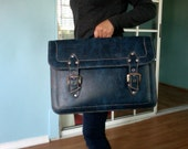 RESERVED Vintage 1970s Blue File Briefcase Luggage