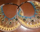 """Beaded Crochet Hoop Earrings- """"Pocahontas"""""""