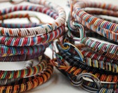 six custom wire bracelets (reserved for: abattig), recycled, colorful, made to order, upcycled, artsy, unique