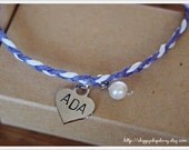 Friendship - Handstamped Letters on Heart Charm Braided Bracelet with Freshwater Pearl