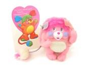 "Vintage Popples Toy Pink Mini Pocket Popples Plush ""Party"" with Valentine"