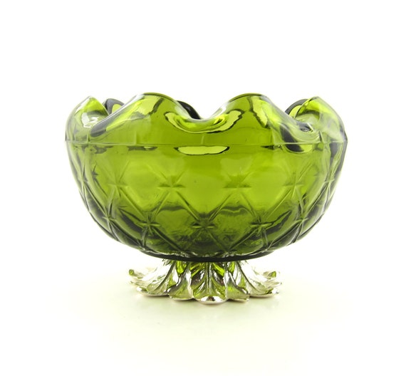Vintage Green Pedestal Bowl Indiana Glass Duette Pineapple