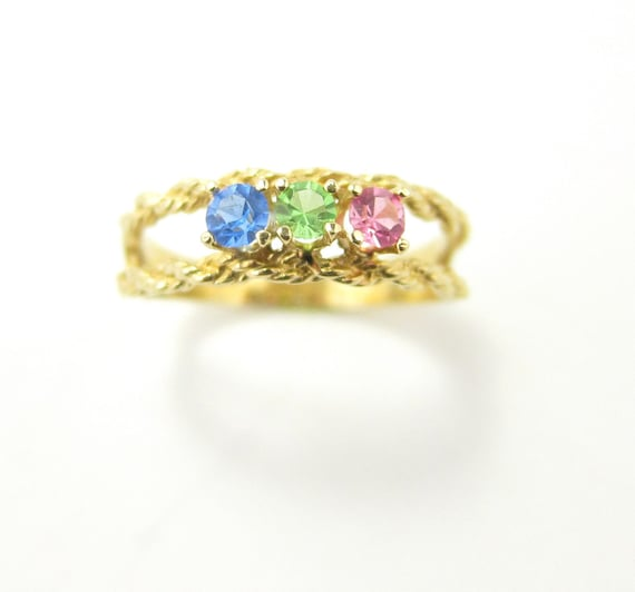 Mothers Ring Vintage Gold Band With Birthstones Pink Blue