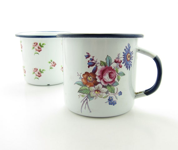 Vintage Enamelware Mugs Cups Roses Robert Steffy Louise Pattern