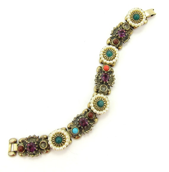 Selini Selro Bracelet Vintage Signed Purple Gemstones, Faux Pearls, Glass Beads