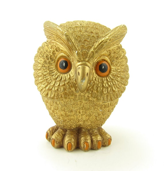 Owl Figurine Gold Orange Eyes Claws Vintage Paper Weight