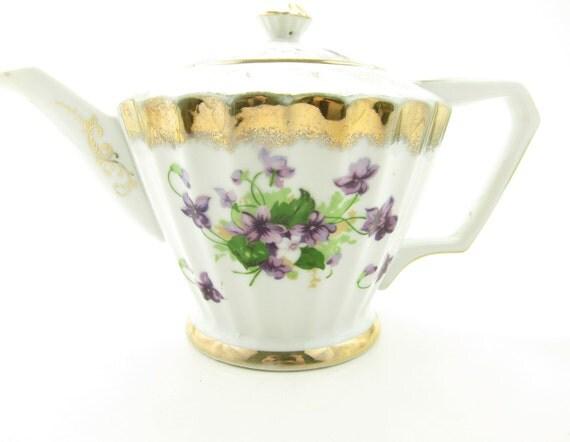Vintage Teapot Marco Violets Purple Gold Rimmed Tea Pot
