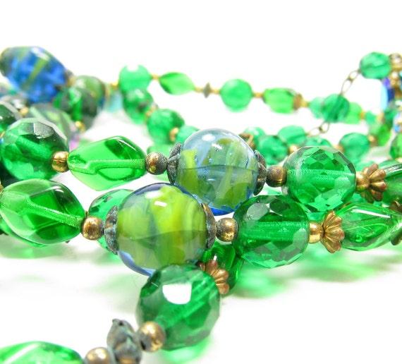 Emerald Green Necklace Vintage Teal Blue Art Glass Beads Multistrand Choker