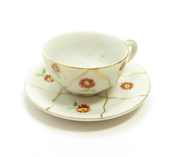 Children's Teacup Occupied Japan Isco Vintage Miniature with Red & Yellow Flowers