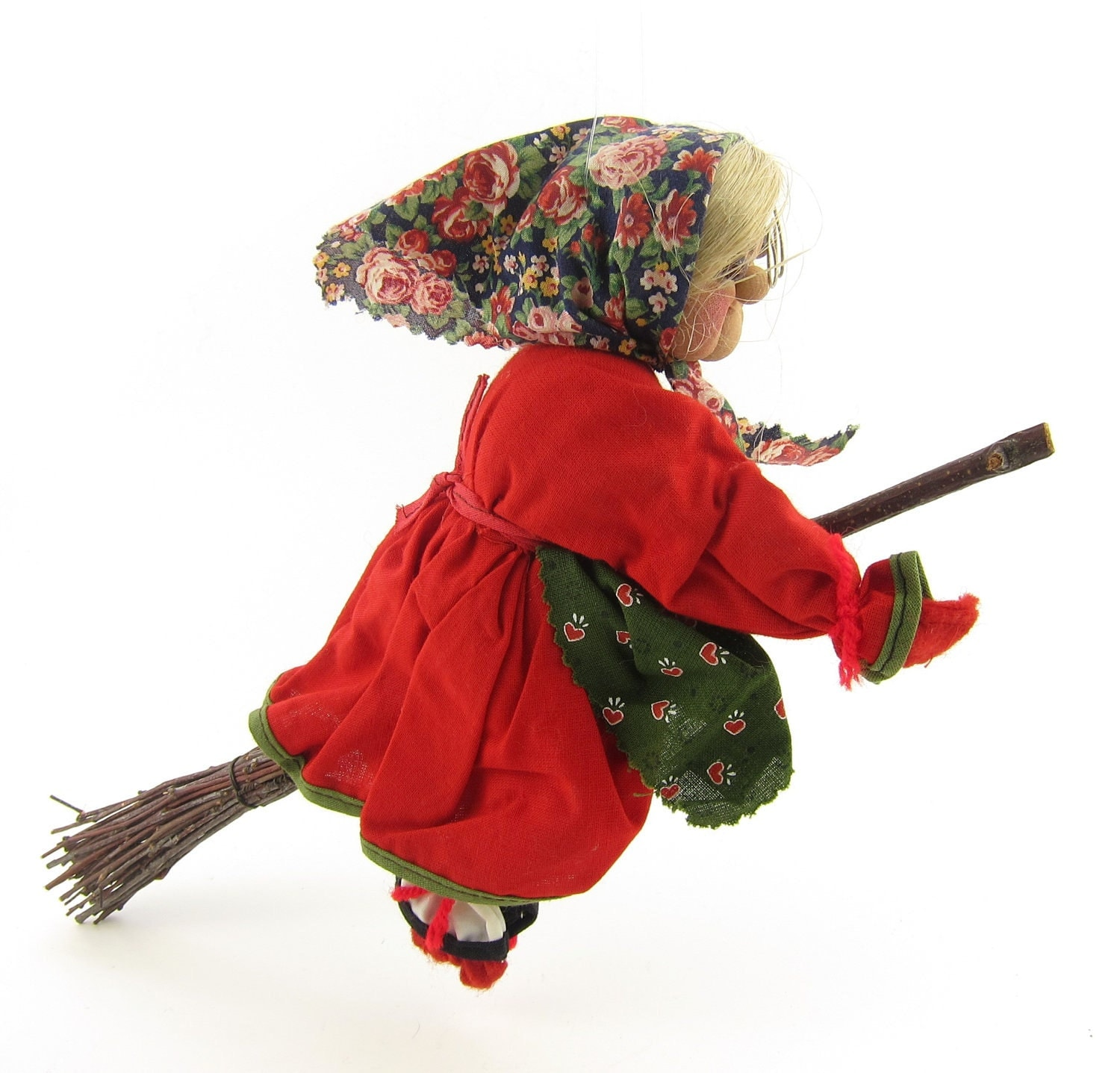 Vintage Kitchen Witch Good Luck Charm German Cloth Doll By