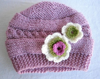 READY TO SHIP Baby Hat, Newborn Baby Girl Hat, Infant Hat Baby Girl Photo Prop,Baby Hat with flowers