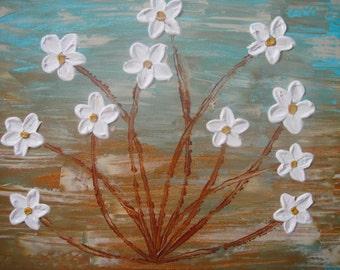 Original Abstract Flower Impasto Acrylic Painting 12x16
