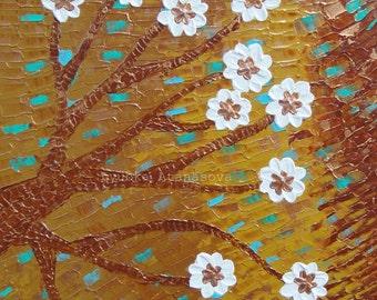 Flower Tree Original Acrylic Impasto Art on Canvas 20x20
