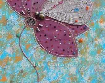 Butterfly & Flower Original Mixed Media Art on Canvas 12x24