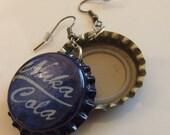 Blue Nuka Cola Bottle Cap Earrings